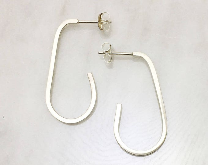 Modern Hoop Earring - Ellipses in Silver and Brass
