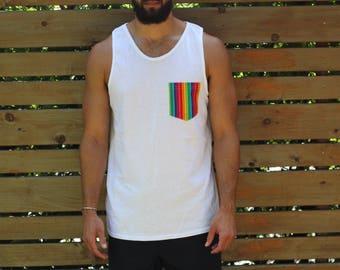 White Gay Pride Rainbow Tank