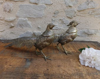 Couple of pheasant and faisane silver-plated - mid-century - birds Decoration