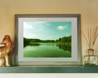 Nature Photography Print, Lake Photography Print, Green, Blue, Summer Water Landscape