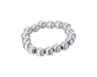 Sterling Silver, .950 Silver Ball Beads Stretch Ring, Statement Ring, Slip on Ring, Elastic, Comfortable Everyday Ring, Classic Ball Ring,