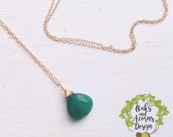 Gold emerald necklace / Genuine emerald necklace / Faceted emerald / May birthday gift / Gift for her / May birthstone emerald necklace