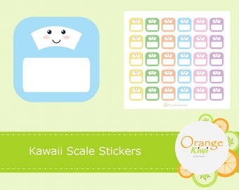 Kawaii Scale Planner Stickers, Scale Stickers, Weigh In Stickers, Fitness Stickers, Planner Stickers