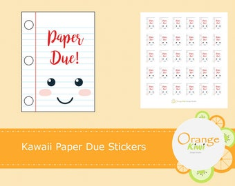 Kawaii Paper Due Stickers, School Stickers, Study Stickers, Kawaii Stickers, Student Stickers, Planner Stickers