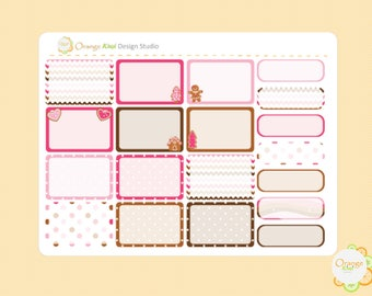 Gingerbread Half Box Planner Stickers, Gingbread Cookie Stickers, Erin Condren Life Planner, Happy Planner, Filofax