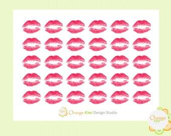 Lips Stickers, Lips Planner Stickers, Kisses, Envelope Seals Planner Stickers, Erin Condren Life Planner, Happy Planner, Filofax