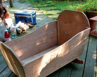 Antique barnwood baby cradle