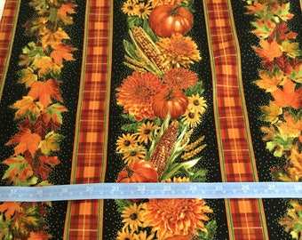 Timeless Treasure Autumn Fall leaves,Stripe Border Print fabric  by the half yard