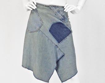 Vintage Clothing, Denim Skirt S, Deconstructed Jean Skirt, Festival Skirt, Pieced Jeans Skirt, Irregular Hem, DKNY, Designer, SIZE S 4 6