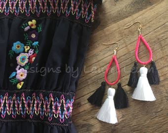 SALE | Pink, Black and White Tassel Earrings | hoops, gold, black and white, statement earrings, boho