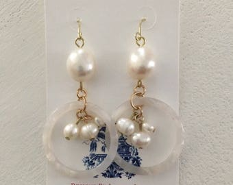 WHITE TORTOISE Shell and Baroque PEARL Earrings | lightweight, gold, statement earrings, Designs by Laurel Leigh