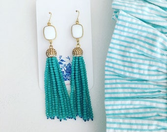 TURQUOISE and WHITE Beaded Tassel Earrings | gold, agate, Designs by Laurel Leigh