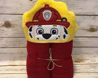 Hooded Towel, Paw Patrol Hooded Towel, Paw Patrol Bath Towel, Bath, Bathroom, Marshall Hooded Towel, Personalized kid gift