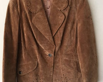Really original jacket perforated suede stylish vintage style mid length jacket modern lightweight kitsch style women's brown size-small.