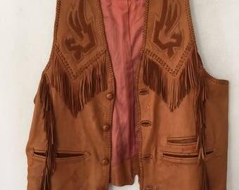 Really amazing leather vest with fashionable leather fringe, stylish steep vest vintage vest western design Indian style men's size-medium.