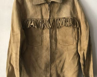 Western women's jacket made from suede stylish jacket vintage style mid length cowboy jacket country style lightweight beige has size-small.