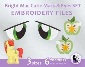 My Little Pony - Bright Mac Cutie Mark & Eyes SET - Embroidery Machine Design