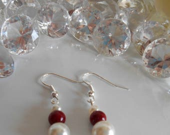 Wedding Pearl Earrings ivory and Burgundy