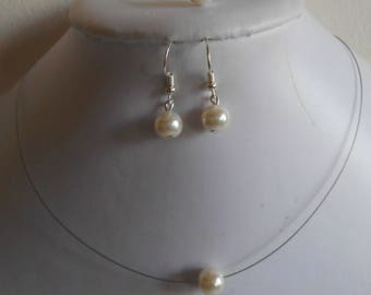 Set of 3 wedding pieces solitaire Pearl ivory