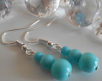 Wedding trio of Turquoise beads earrings