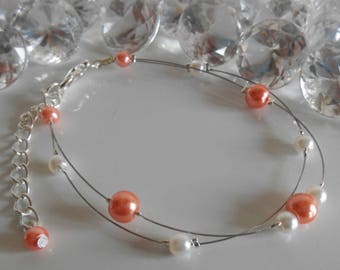 Bracelet wedding 2 row coral and white pearls