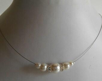 Bridal rhinestone and ivory pearls