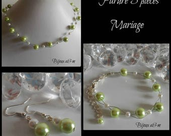 Set of 3 wedding pieces twist of lime green and white beads
