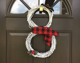 Grapevine Snowman/Christmas wreath/Winter wreath/Grapevine wreath/ Snowman wreath/white wreath/snowman/snowman door hanger