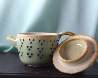 Handmade Miniature Ceramic Teapot with Dot Pattern