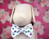 Dog Collar Bow Tie in Rainbow, Black or White Paw Print Fabric, Dogs Dress Up Wedding Bow Ties, Fancy Pet Bows in Small Medium Large Sizes