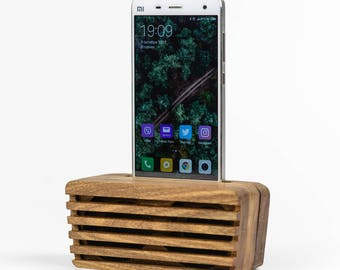 Phone Speaker iPhone X Speaker Acoustic Speaker Wooden Phone Dock Amplifier Passive Speaker Wood Phone Stand Android Speaker Docking Station