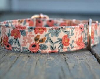Dog Collar, Rose Dog Collar, Dog Collar Girl, Peach Dog Collar, Bow Tie Dog Collar, Pink Collar, Girly Dog Collar, Female Dog Collar,