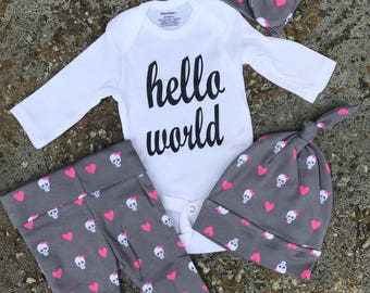 Newborn Baby coming home outfit, skull heart hello world baby girl shower gift coming home from the hospital outfit baby girl