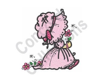Girl - Machine Embroidery Design, Little Girl Wearing Bonnet - Machine Embroidery Design