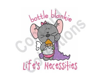 Baby - Machine Embroidery Design, Mouse, Bottle, Blankie