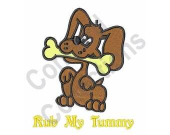 Rub My Tummy - Machine Embroidery Design, Dog, Puppy, Bone