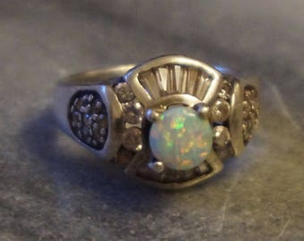 925 Sterling silver ring, size 7,1/4, 6,13gram, stamped 925  beautiful Opal 6mm