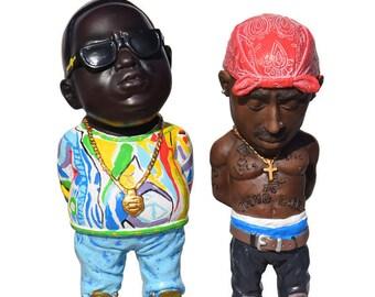 5.5'' Red Bandana Tupac Figurine Biggie Smalls Figure Biggie Tupac Hip Hop King