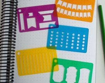Beginner Bundle, Planner Stencils - 016, 017, 022, 062, 501 (Credit Card Size Stencil Set)