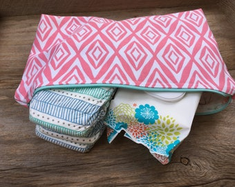 Pink & white lined zipper pouch, diaper pouch, diaper and wipe pouch, handmade cotton zipper pouch, lined zipper pouch