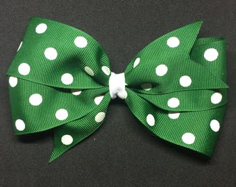 "5.5"" Green and White Polka Dots"