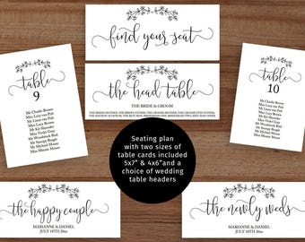 Rustic wedding seating chart set, printable individual table plans, 5x7 and 6x4 inches, find your seat header signs 3.5 x 9 inches