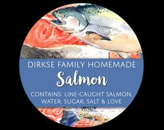 Customized Label - Salmon, Watercolor Style Label - Watercolor Canned Salmon Labels - Custom Labels