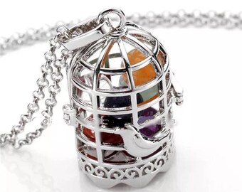Hollow Birdcage Openable Locket 7 Chakra Gemstone Pendant Chain Necklace  (Said to be activate all the chakras) B1