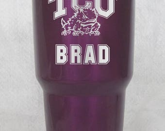 20 or 30 oz yeti or 30 oz rtic in purple candy coat TCU Hornfrog personalized cup tumbler engraved