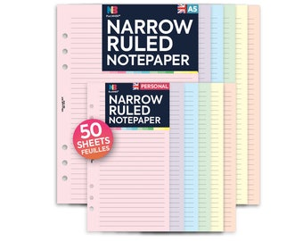 PRINTED 50 sheets Narrow Ruled Notepaper Insert A5 Personal Filofax A5 Kikki.K Large Compatible  Refill Coloured