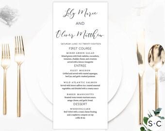 Loose Calligraphy Wedding Menu Template, Wedding Menu, Menu Template, Printable Menu, Dinner Menu, DIY Wedding Menu, Wedding Menu Card