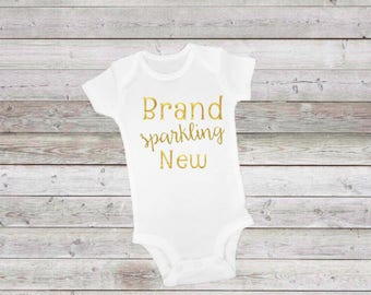 Brand sparkling new! New baby, new sister, baby gift, shower gift, gift for little girl or boy, glitter text, brand new, hello world!
