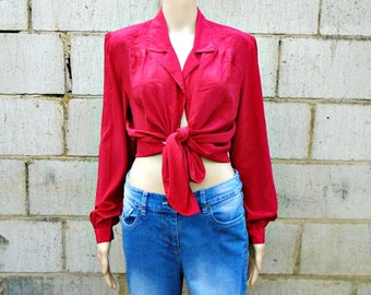Vintage Blouse - Shoulder Pads - Red - Silky - 1980's - Long Sleeved Blouse