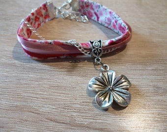 Several ribbons - Liberty and flower charm bracelet